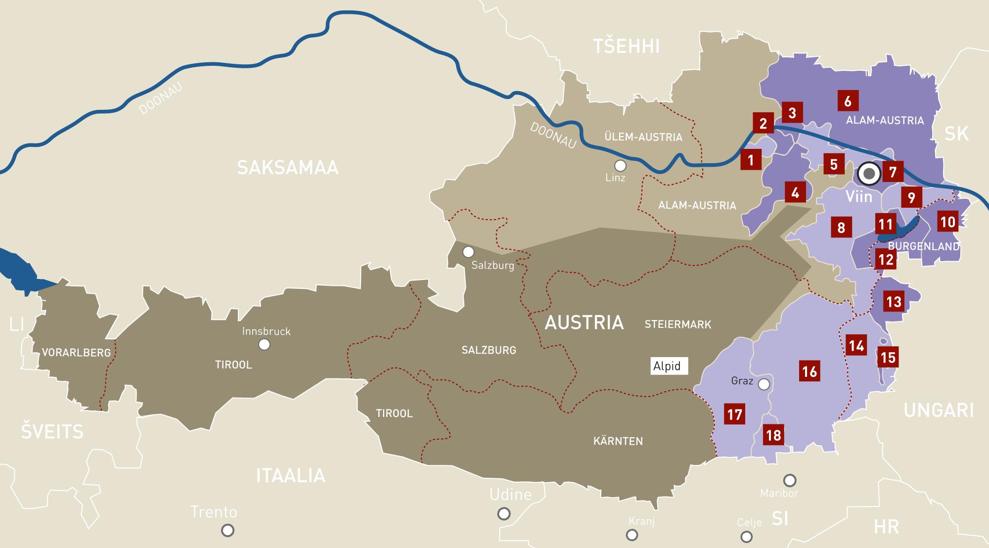 Austria veinipiirkondade kaart