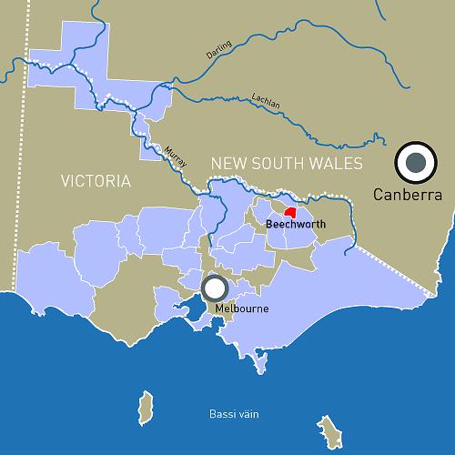 Beechworth asub sisemaal Victoria Alpide jalamil üsna lähedal New South Wales'i piirile.