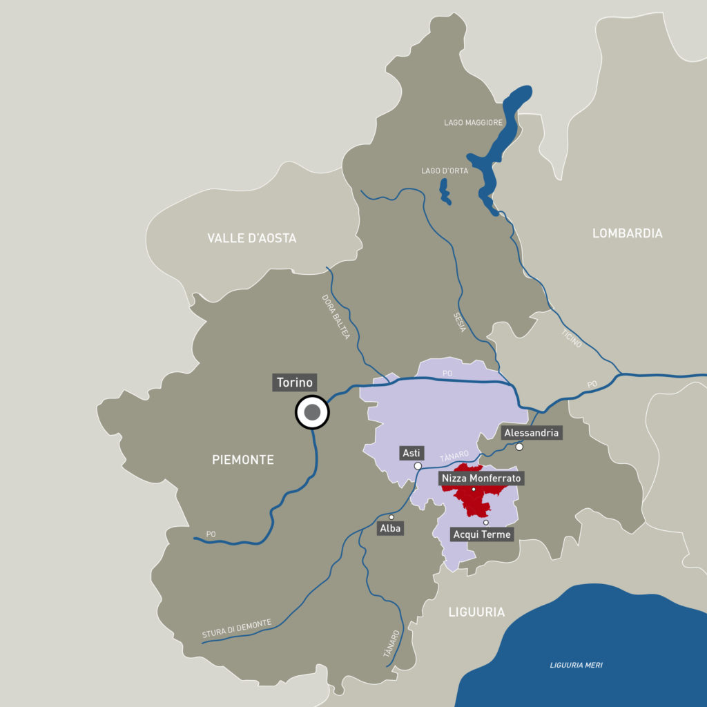 Nizza DOCG piirkond asub Piemonte kaguosas, pisut lääne pool Gavi DOCG veinialast.